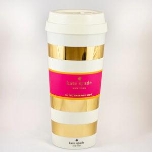 NEW Kate Spade Gold Stripe Thermal Mug 16 oz